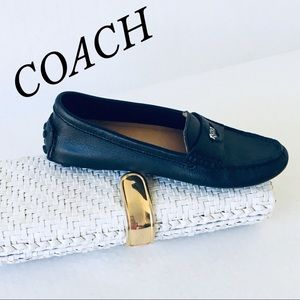 COACH BLACK LEATHER LOAFERS/DRIVING SHOES